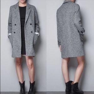 Zara Trafaluc Gray Boyfriend Pea Coat